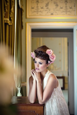 Sophie Porley. Floral hair with Hepburn Collection hair, Fairynuff Flowers blooms, Minna gown and Marianne Taylor photography.