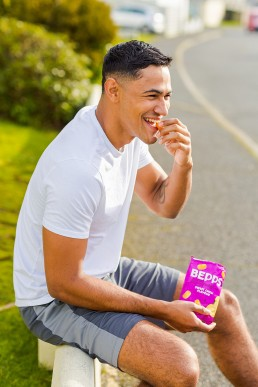 Colourful content creation for Bepps Snacks. Product photography & styling by Marianne Taylor.