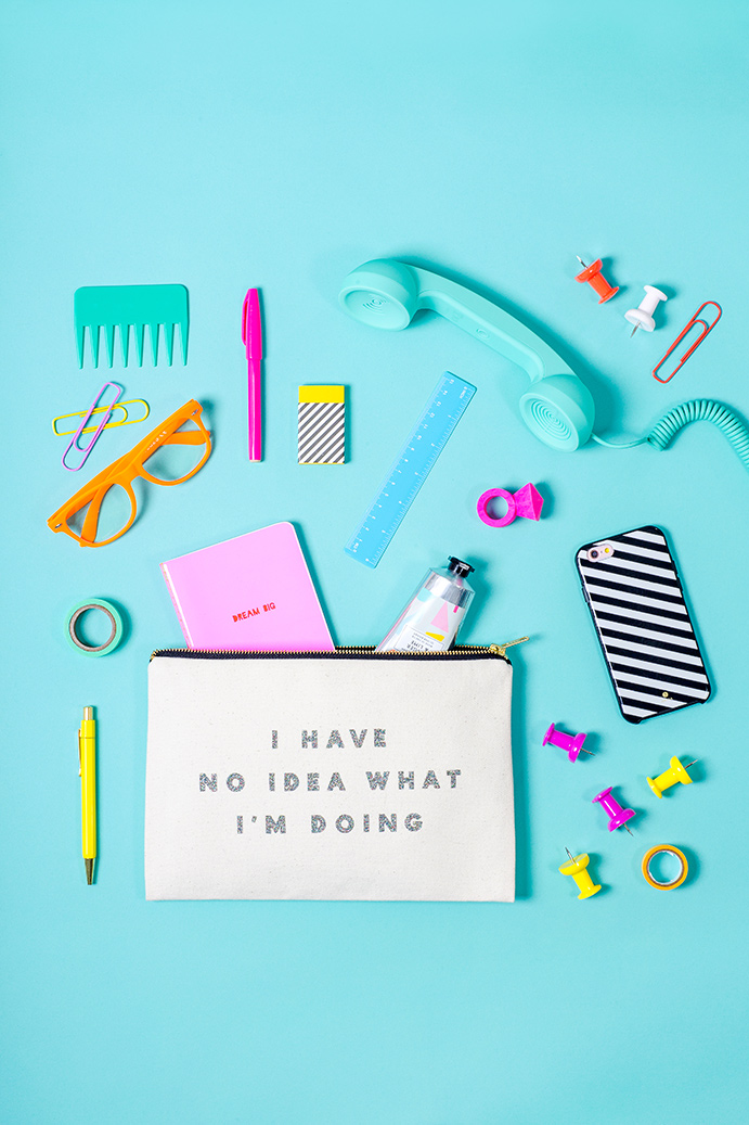 I don't know what I'm doing pouch by Alphabet Bags. Colourful product photography by Marianne Taylor.