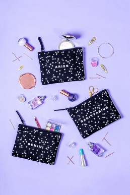 Zodiac pouches by Alphabet Bags. Colourful product photography by Marianne Taylor.