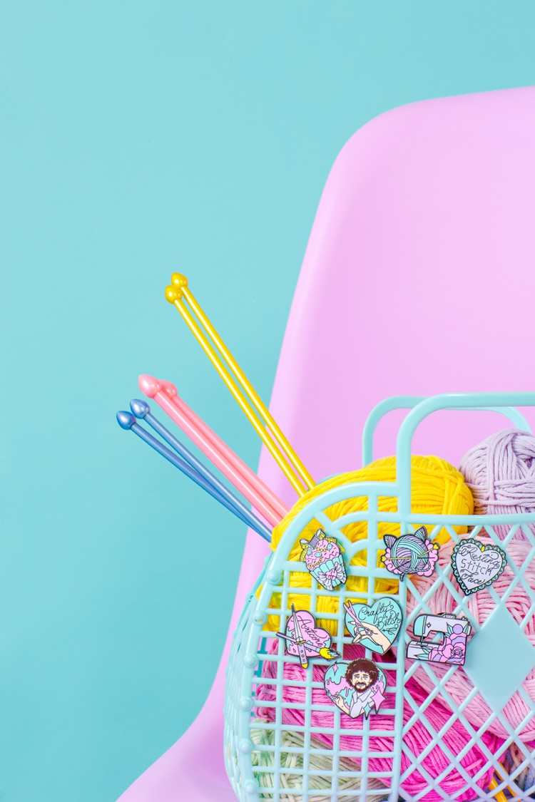 Colourful product photography and styling for Punky Pins by Marianne Taylor.
