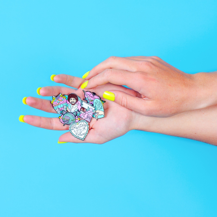Colourful product photography styling and content creation for Punky Pins by Marianne Taylor.