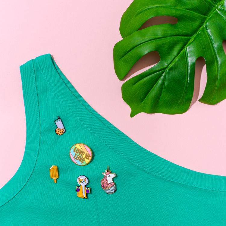 b4dbf63aae92 Colourful enamel pin product & lifestyle photography and styling by  Marianne Taylor.