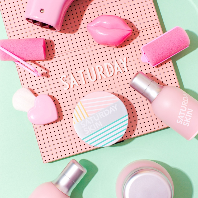 Retro pastel styled product photography for Saturday Skin by Marianne Taylor.