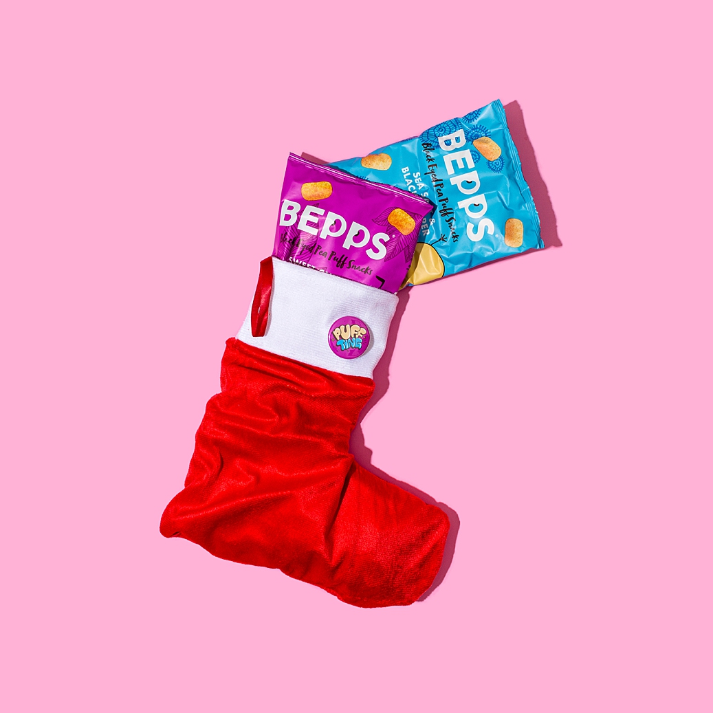 Colourful product photography and content creation for Bepps vegan snacks by Marianne Taylor.
