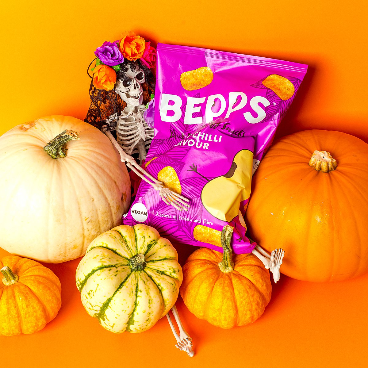 Colourful content creation for Bepps vegan snacks. Styled product photography by Marianne Taylor.