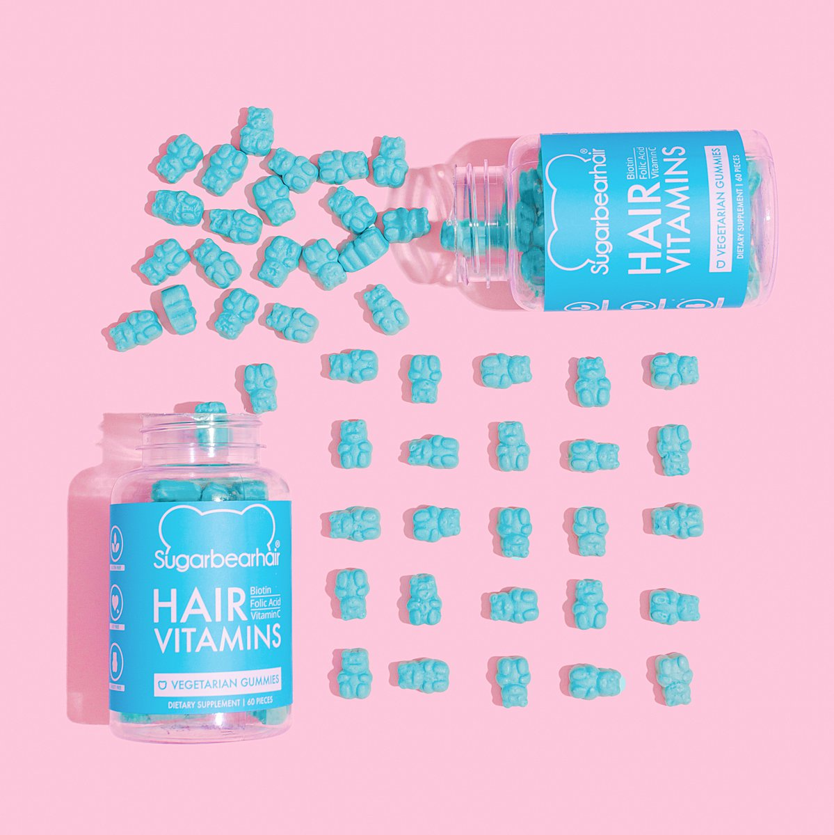 Colourful content creation for SugarBearHair vitamins. Styled product photography by Marianne Taylor.