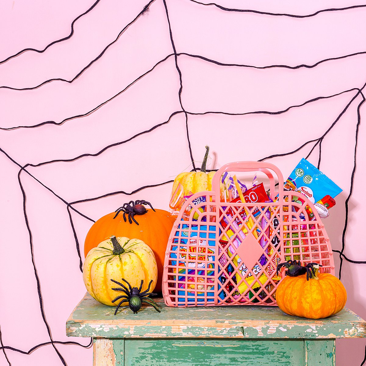 Colourful Halloween content creation for Sun Jellies retro bags. Styled product photography by Marianne Taylor