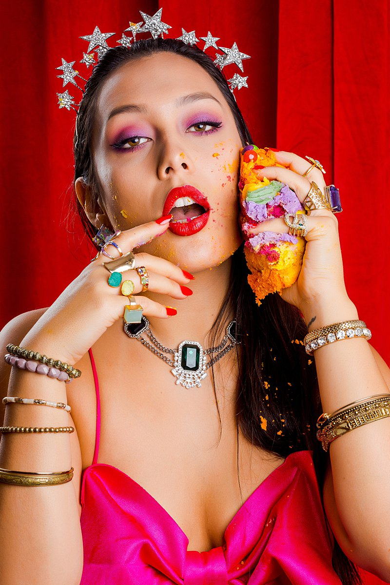 Colourful birthday cake beauty shoot. Styled editorial photography by Marianne Taylor.