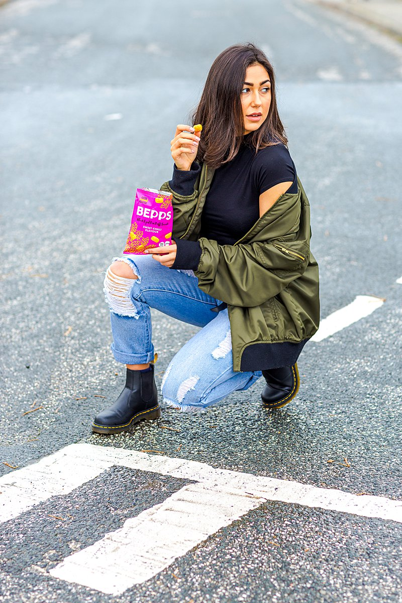 Colourful content creation for Bepps vegan snacks. Styled product and lifestyle photography by Marianne Taylor.