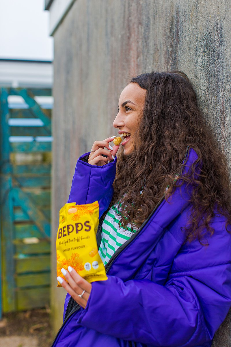 Colourful content creation for Bepps vegan snacks. Styled product stills and lifestyle photography by Marianne Taylor.