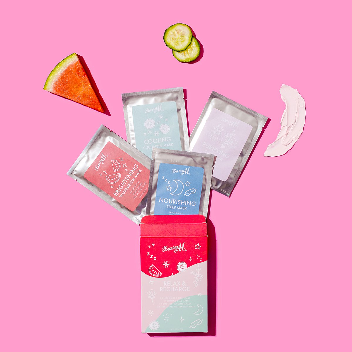 Fun colourful content creation for Barry M cosmetics. Styled makeup product stills photography by Marianne Taylor.