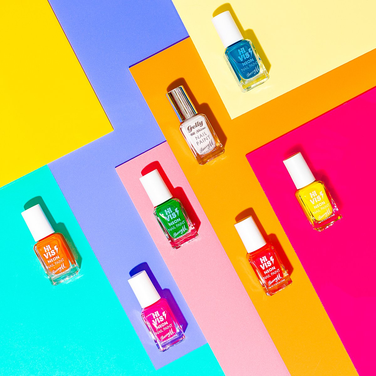 Fun colourful beauty product content creation for Barry M cosmetics. Styled makeup product stills photography by Marianne Taylor.